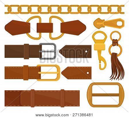Flat Vector Set Of Different Belt Elements. Trendy Leather Waistbands, Golden Chain, Zipper Pull. Fa