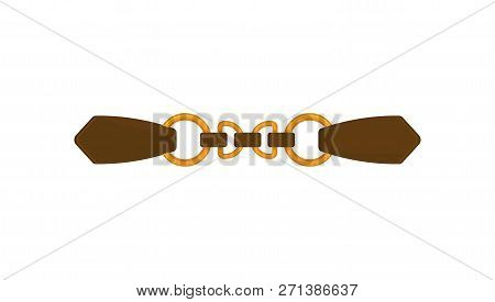 Fashion Women Leather Belt With Golden Rings. Stylish Female Waistband. Trendy Accessory. Flat Vecto