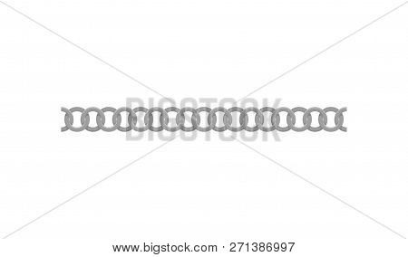 Seamless Silver Chain Made Of Small Metal Rings. Decorative Element For Clothes And Women Handbags.