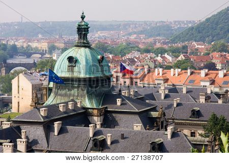 rooftops with european flag
