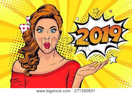 2019 New Year Comic Book Style Postcard Or Greeting Card With Wow Sexy Young Girl. Vector Illustrati