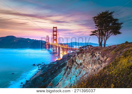 Classic Panorama View Of Famous Golden Gate Bridge Seen From Scenic Baker Beach In Beautiful Post Su