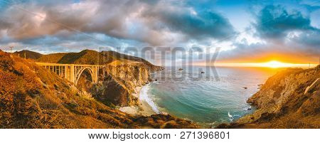 Scenic Panoramic View Of California Central Coast With Historic Bixby Creek Bridge Along World Famou