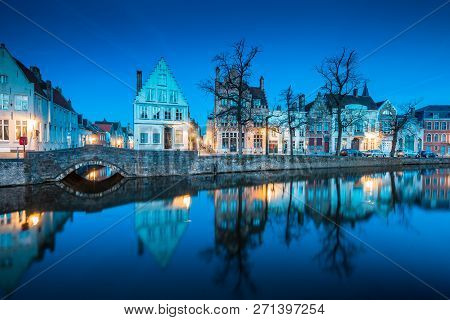 Beautiful Twilight View Of The Historic City Center Of Brugge With Old Houses Along Famous Potterier