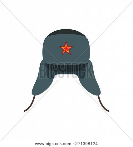 Russian Traditional Woolen Hat. Warm Clothing In Cold Winter Season. Headwear With Red Star Symboliz