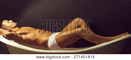 Handsome Sensual Sexy Young Stylish Man In White Panties Bare Muscular Torso And Beautiful Body Indo