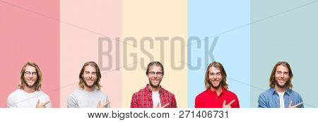 Collage of young handsome man over colorful stripes isolated background cheerful with a smile of face pointing with hand and finger up to the side with happy and natural expression on face