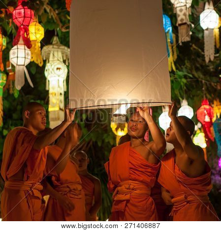 Chiang Mai, Thailand - November 06, 2014: Yee Peng Ceremony: Buddhist Monks Launch Sky Lantern At Th
