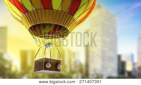 Hot Air Color Balloon 3d Render Oncity Background