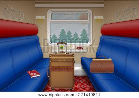 Train Compartment Inside View In Door Vector Illustration