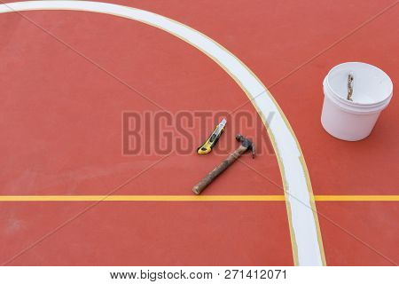 Sideline For An Outdoor Stadium Being Prepared With Tools