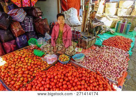 Selling Vegetable At Rural Market