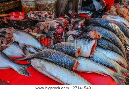 Fresh Fish For Sale At The Local Market In Taunggyi, Myanmar.