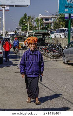 Taunggyi, Myanmar - Feb 8, 2018. Portrait Of Old Woman In Taunggyi, Myanmar. Since 1962, Myanmar Has