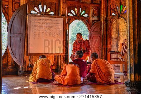 Novice Monks Studying At The Monastery