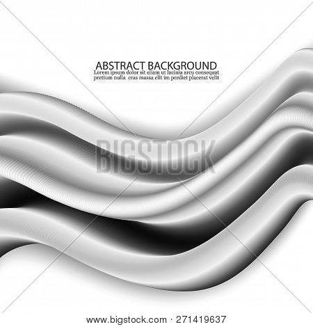 Concept Of Abstract Silver Wave Background Design.