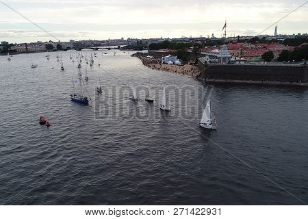 St. Petersburg, Russia - July 24, 2017: Festival Of Yachts In St. Petersburg On The River Neve. Sail
