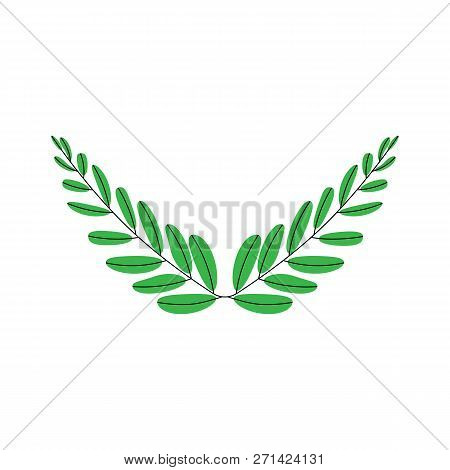 Branches Of Olives, Symbol Of Victory, Vector Illustration, Flat Silhouette, Icon, Object For Design