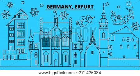 Germany, Erfurt Winter Holidays Skyline. Merry Christmas, Happy New Year Decorated Banner With Santa