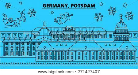 Germany, Potsdam winter holidays skyline. Merry Christmas, Happy New Year decorated banner with Santa Claus.Germany, Potsdam linear christmas city vector flat illustration poster
