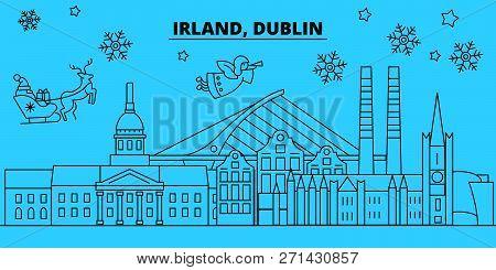 Ireland, Dublin Winter Holidays Skyline. Merry Christmas, Happy New Year Decorated Banner With Santa