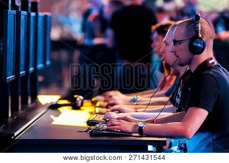 Luxembourg, Luxembourg - September 24, 2017: Gamers Playing A Computer Game. Competitions On E-sport