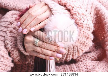 French Manicure, Pink Nails. Hands With Painted Nails On The Color Of Powder Pink In Winter Stylizat