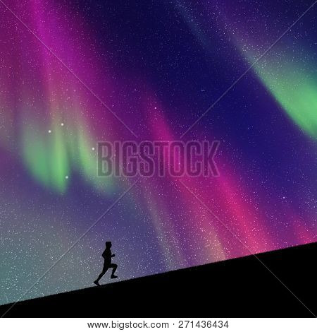 Man Runs Uphill In Park At Night. Vector Illustration With Silhouette Of Male Runner. Northern Light