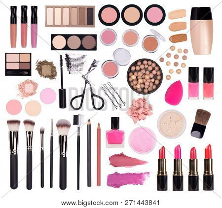 Makeup cosmetics such as eyeshadow, mascara, lipstick, eyeliner, nailpolish  and makeup accessories isolated on white background