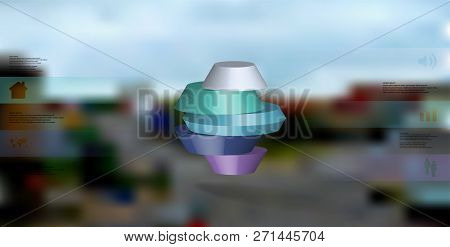 3d Illustration Infographic Template. The Round Octagon Is Divided To Five Color Parts. Object Is Ar