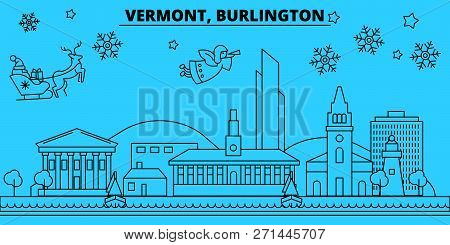United States, Burlington Winter Holidays Skyline. Merry Christmas, Happy New Year Decorated Banner