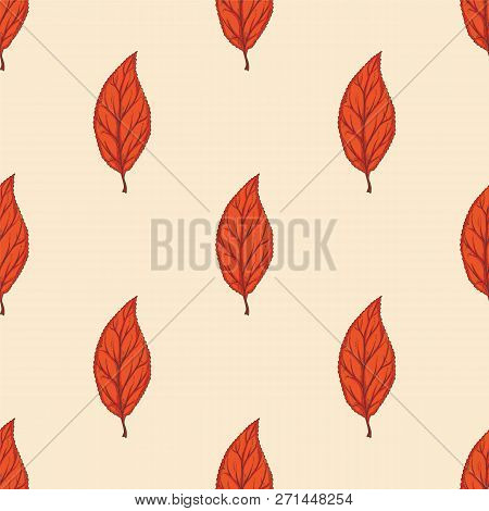 Seamless Pattern With Red Dried Beech Leaf On Beige Background