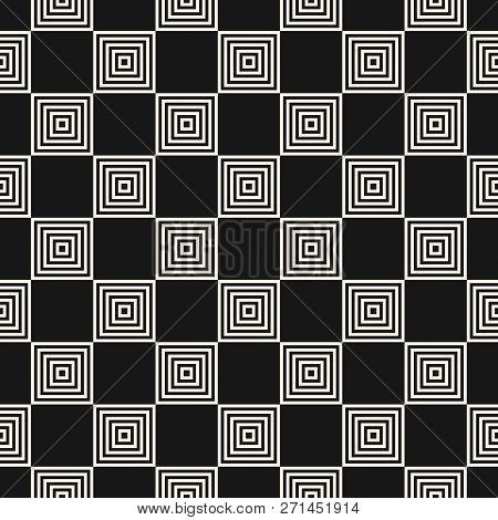 Vector Geometric Seamless Pattern With Small Staggered Squares, Lines. Abstract Black And White Chec