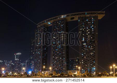 Shot Of Al Reem Island Gate Towers At Night In Abu Dhabi City - Abu Dhabi, Uae - November 24, 2018