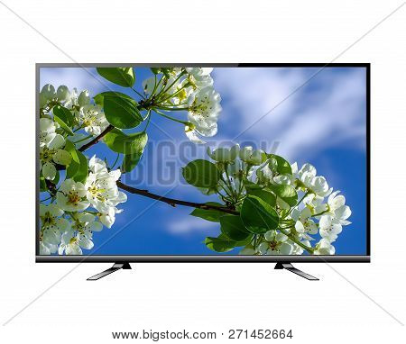 Tv Flat Screen Lcd, Plasma Realistic Illustration Isolataed On White. Tv Mock Up