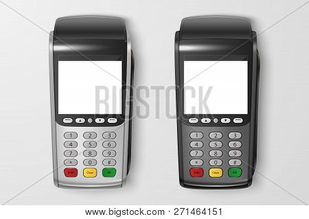 Vector Realistic 3d Payment Machine Set. Pos Terminal Closeup Isolated On Transparency Grid Backgrou
