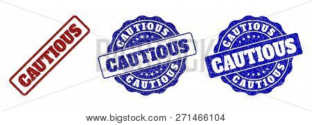 Cautious Grunge Stamp Seals In Red And Blue Colors. Vector Cautious Imprints With Grunge Surface. Gr