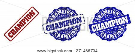 Champion Grunge Stamp Seals In Red And Blue Colors. Vector Champion Labels With Draft Surface. Graph