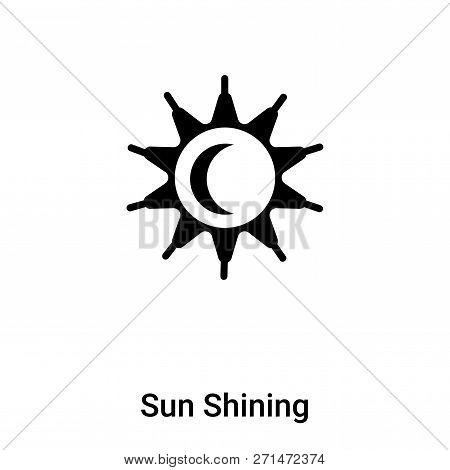 Sun Shining Icon In Trendy Design Style. Sun Shining Icon Isolated On White Background. Sun Shining