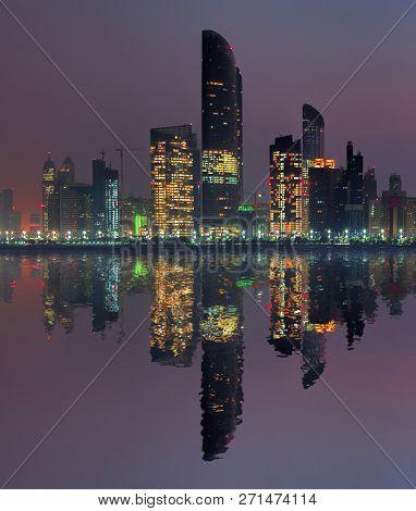 Skyscrapers In The Evening, Abu Dhabi, United Arab Emirates