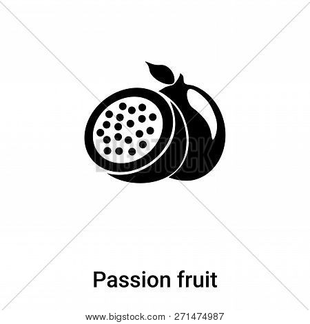 Passion Fruit Icon In Trendy Design Style. Passion Fruit Icon Isolated On White Background. Passion