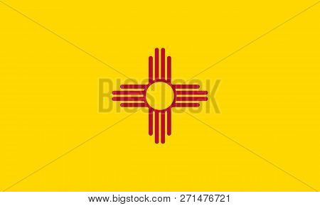Flat New Mexico State Flag - United States Of America