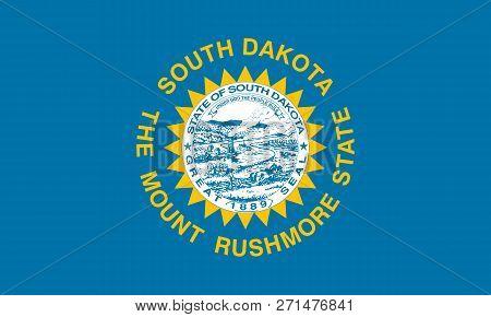 Flat South Dakota State Flag - United States Of America