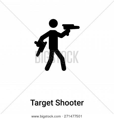 Target Shooter Icon In Trendy Design Style. Target Shooter Icon Isolated On White Background. Target