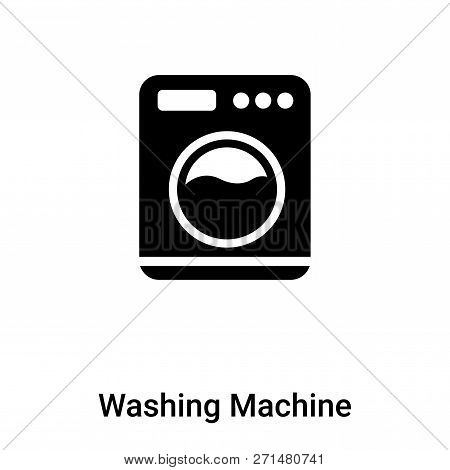 Washing Machine With Dots Icon In Trendy Design Style. Washing Machine With Dots Icon Isolated On Wh