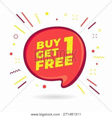 Buy 1 Get 1 Free, Sale Speech Bubble Banner, Discount Tag Design Template, App Icon, Vector