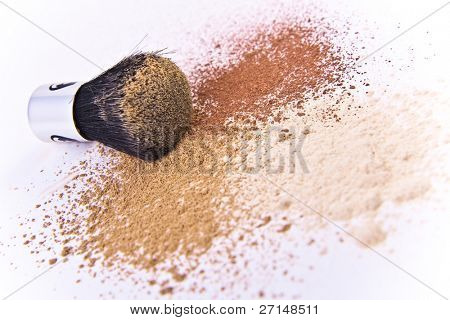 makeup brush and powder isolated