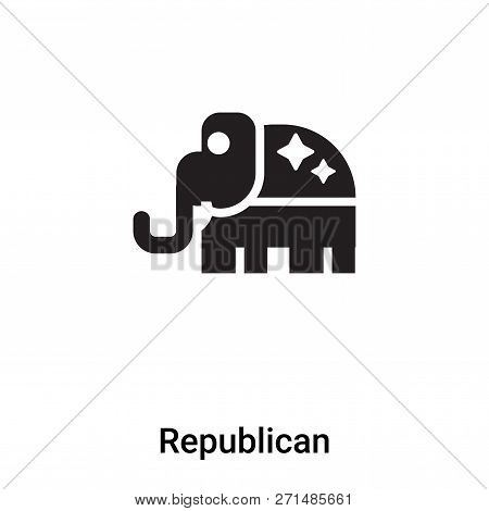 Republican Icon In Trendy Design Style. Republican Icon Isolated On White Background. Republican Vec