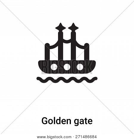 Golden Gate Icon In Trendy Design Style. Golden Gate Icon Isolated On White Background. Golden Gate
