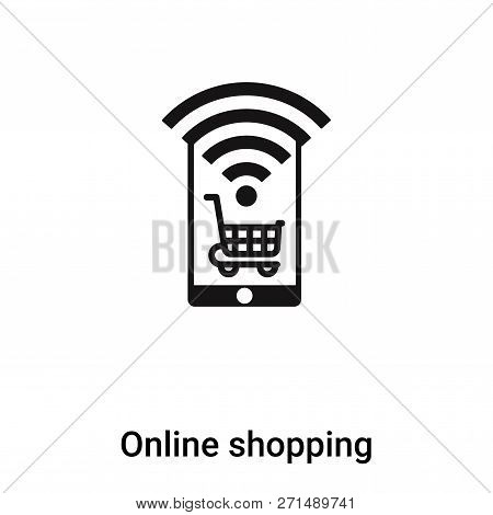 Online Shopping Icon In Trendy Design Style. Online Shopping Icon Isolated On White Background. Onli